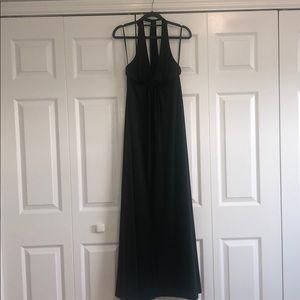 BCBG MAXAZRIA XS Dark Green Halter Maxi Dress